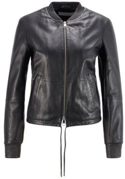 HUGO BOSS Leather jacket with elasticated hem and stand collar