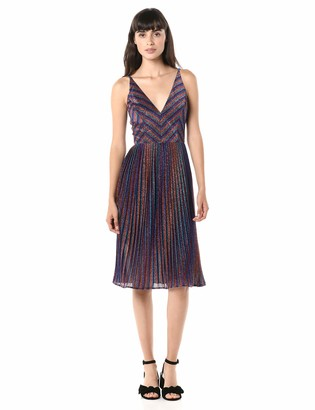 Dress the Population Women's Haley Sleeveless Plunging Fit & Flare Pleated Party Dress