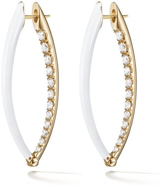Melissa Kaye 18kt yellow gold and diamond Cristina hoop earrings