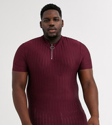 Asos Design DESIGN Plus skinny t-shirt with turtle zip neck in burgundy