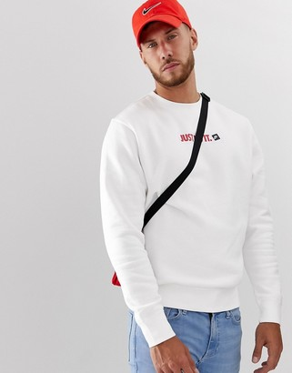 Nike Just Do It logo crew neck sweat in white