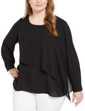 Alfani Plus Size Overlay Blouse, Created for Macy's