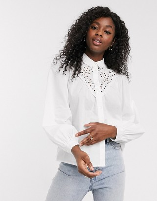 New Look cutwork detail blouse in white