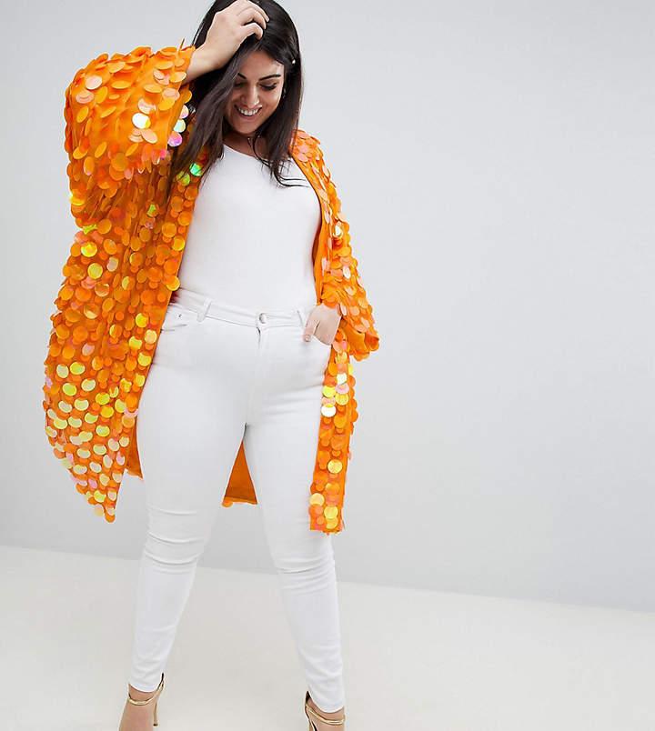 DESIGN Curve Bright Sequin Kimono
