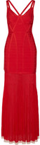Herve Leger Zhenya Cutout Bandage Gown - Red