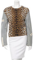 3.1 Phillip Lim Cheetah Zip-Accented Sweatshirt
