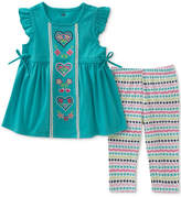 Kids Headquarters 2-Pc. Embroidered Hearts Tunic & Capri Leggings Set, Baby Girls