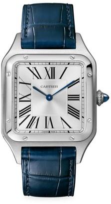 Cartier Santos Dumont de Large Stainless Steel & Navy Alligator-Strap Watch