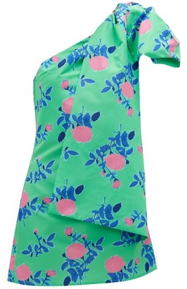 BERNADETTE Josselin Floral-print Bow-shoulder Dress - Womens - Green Print