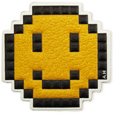 Anya Hindmarch Pixelated Smiley Leather Sticker for Handbag, Mustard
