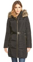 MICHAEL Michael Kors Women's Faux Fur Trim Belted Down & Feather Fill Parka