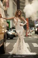 Women's Berta Illusion Long Sleeve Mermaid Gown