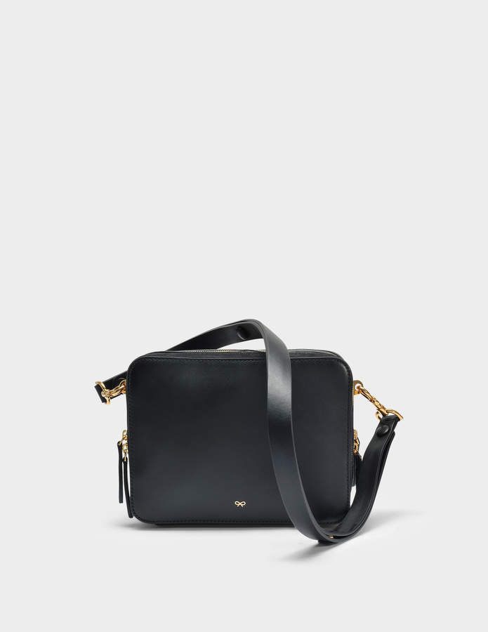 Anya Hindmarch The Stack Double Crossbody Bag in Black Circus Leather