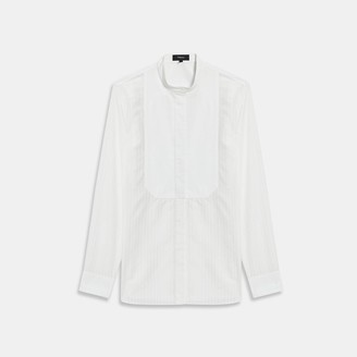Theory Combo Bib Shirt in Sheer Pinstripe Cotton