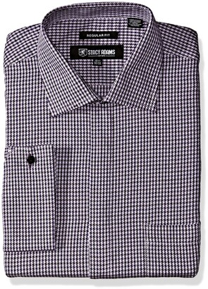 Stacy Adams Men's Big and Tall Big & Tall Textured Houndstooth Classic Fit Dress Shirt