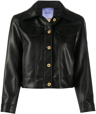 Patou Faux-Leather Cropped Jacket