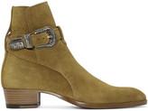 Saint Laurent Tan Suede Western Hedi Boots