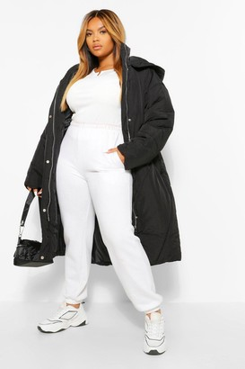 boohoo PLUS Longline Hooded Puffer Coat