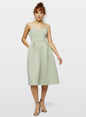 Miss Selfridge Pale Green Scuba Midi Dress
