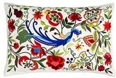 Summer Peacock Silk Feathers Floral Lumbar Pillow Sivaana