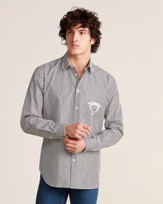 Versace Chest Logo Long Sleeve Striped Shirt