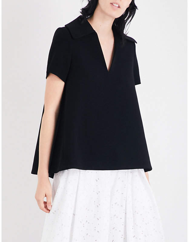 Co Collared crepe top