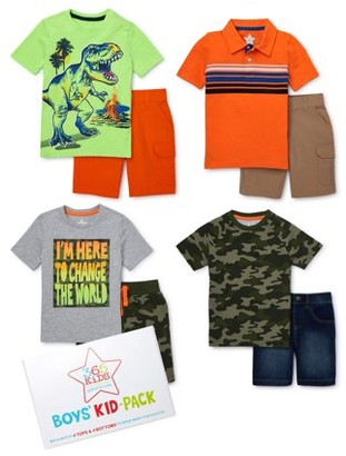 365 Kids from Garanimals Boys 4-10 Camo Dino Kid-Pack with T-Shirts, Cargo Shorts, and Jean Shorts, 8-Piece Outfit Set
