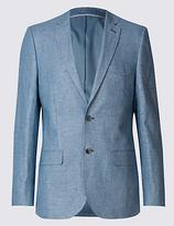 M&S Collection Blue Linen Cotton Mix Tailored Fit Jacket