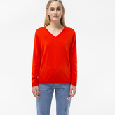 Paul Smith Women's Red Cotton V-Neck Sweater