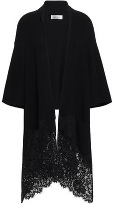 Valentino Corded Lace-paneled Draped Wool Cardigan