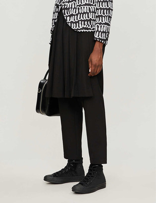 Black Comme Des Garcon Serge straight cropped woven trousers