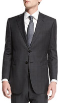 Giorgio Armani Taylor Plaid-Windowpane Wool Suit, Charcoal