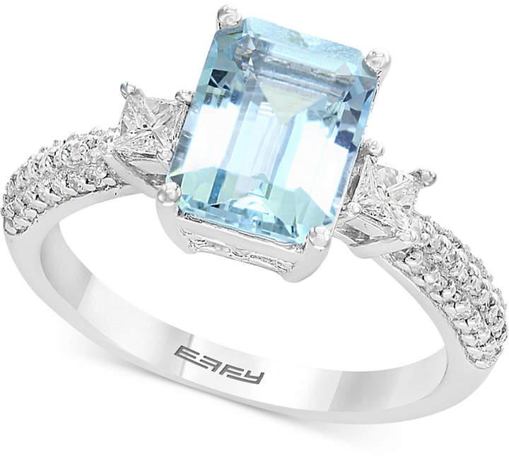 Effy Gemstone Bridal by Aquamarine (2-1/4 ct. t.w.) & Diamond (3/8 ct. t.w.) Ring in 18k White Gold