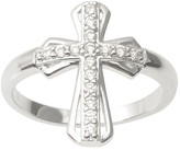 Journee Collection 1/6 CT. T.W. Round-cut Cubic Zirconia Cross Pave Set Ring in Sterling Silver - Silver