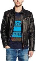 Redskins Men's Leather Long Sleeve Raincoat - Black -
