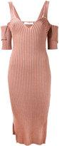 Victoria Beckham ribbed cold shoulder dress - women - Cotton/Ramie/Polyamide/Wool - 10