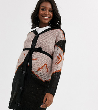 Mama Licious Mamalicious button through cardigan in abstract print