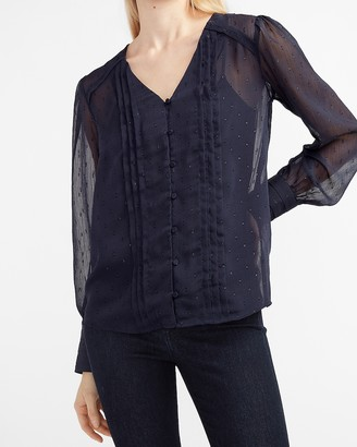 Express Metallic Clip Dot Pleated Shirt