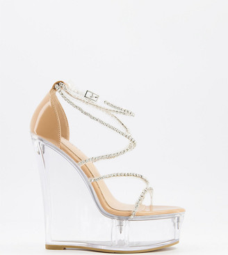 Simmi Wide Fit Simmi London Wide Fit Estefania platform wedge heeled sandals in clear