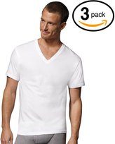 Fruit of the Loom Mens 3Pack White V-Neck Undershirts 100% Cotton T-Shirts, M