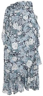 Ganni Ruffled Printed Georgette Midi Wrap Skirt