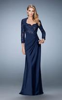 La Femme 21944 Embroidered V-Neck A-Line Dress