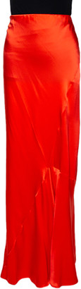 Roberto Cavalli Bright Orange Satin Silk Flared Maxi Skirt L