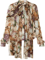 Christopher Kane Wilted Rose-print silk-georgette blouse