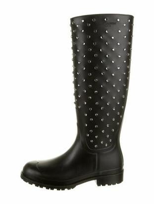 Saint Laurent Rubber Printed Rain Boots Black