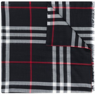Burberry Lightweight Check Wool And Silk-Blend Scarf