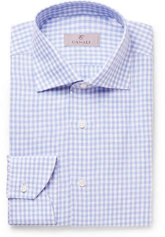 Canali Slim-Fit Cutaway-Collar Checked Linen Shirt