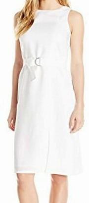 Ellen Tracy Women's Petite Size Linen Belted Column Dress