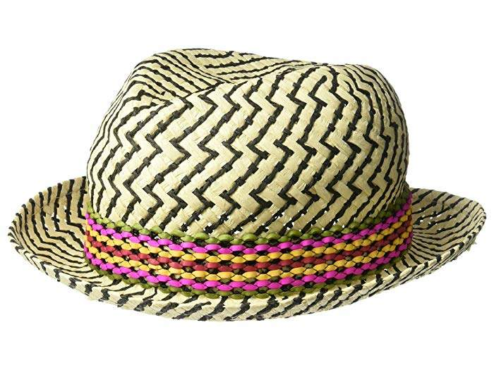 4ff31af96 Textured Zigzag Paper Fedora with Braided Band