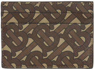 Burberry Brown Monogram E-Canvas Sandon Card Holder
